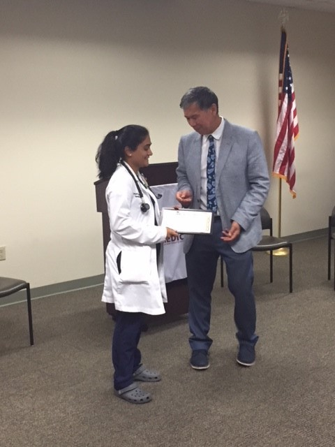 Award for our PGY-3 Chief Dr. Pruthvi Patel